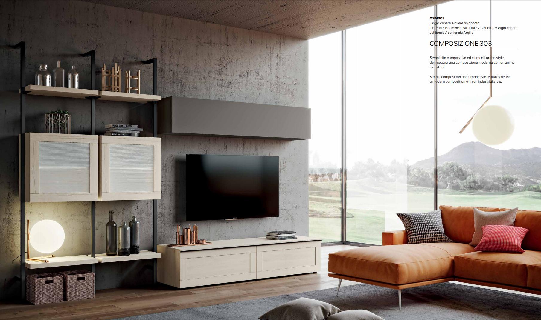 Parete Soggiorno Moderno Porta TV Mito 4.0 Imab - Comp.303 € 1690.00 ...
