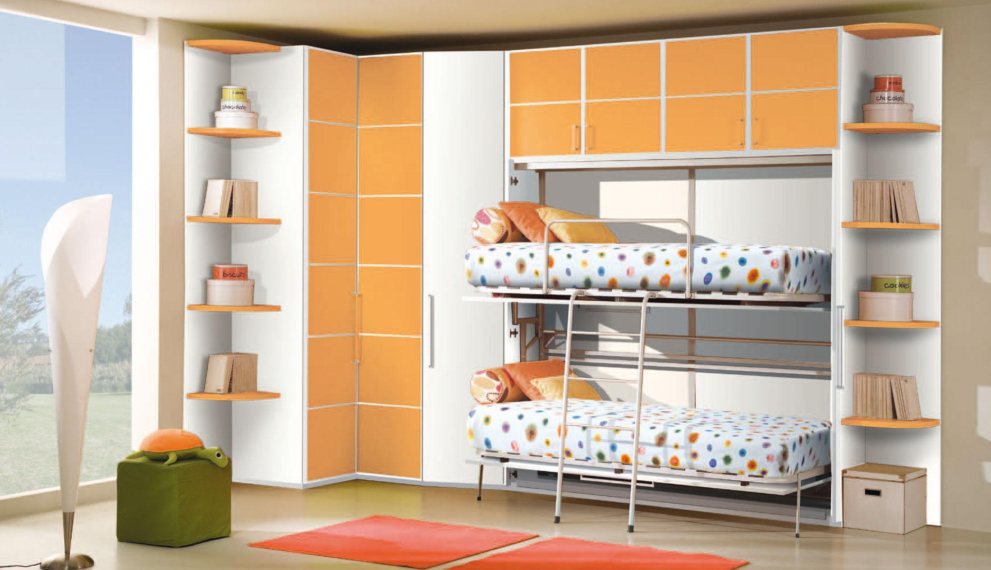 Cameretta letti a scamparsa tutto mobili arredamento camere cucine ufficio roma for Cameretta letto a scomparsa