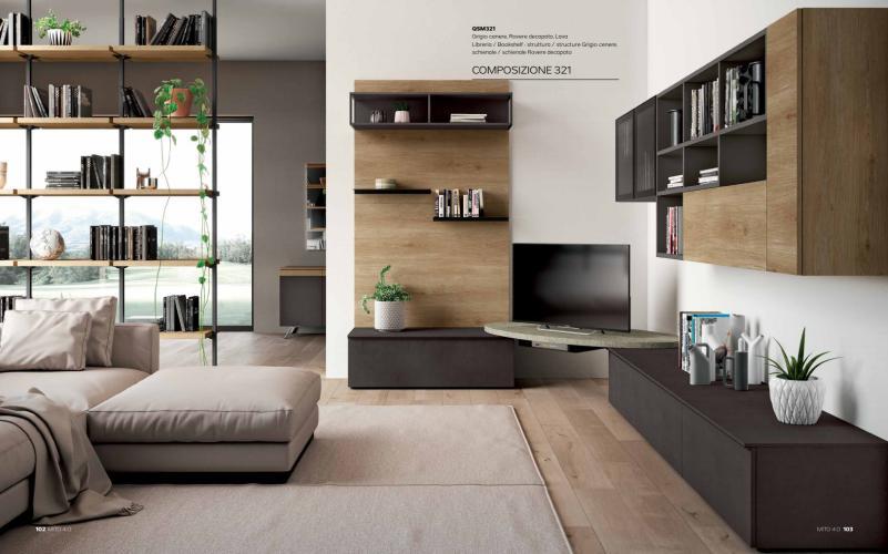 Parete soggiorno moderno porta tv mito 4 0 imab for Mobili ufficio moderni