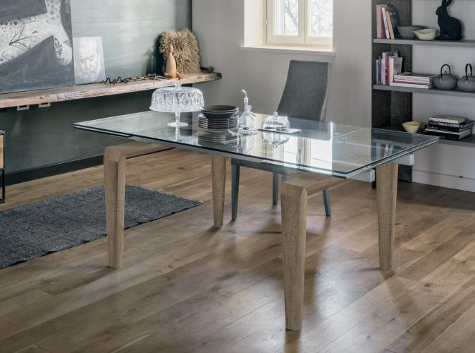 Ufficio Legno E Vetro : Tavolo allungabile in legno e piano gres vetro totem target