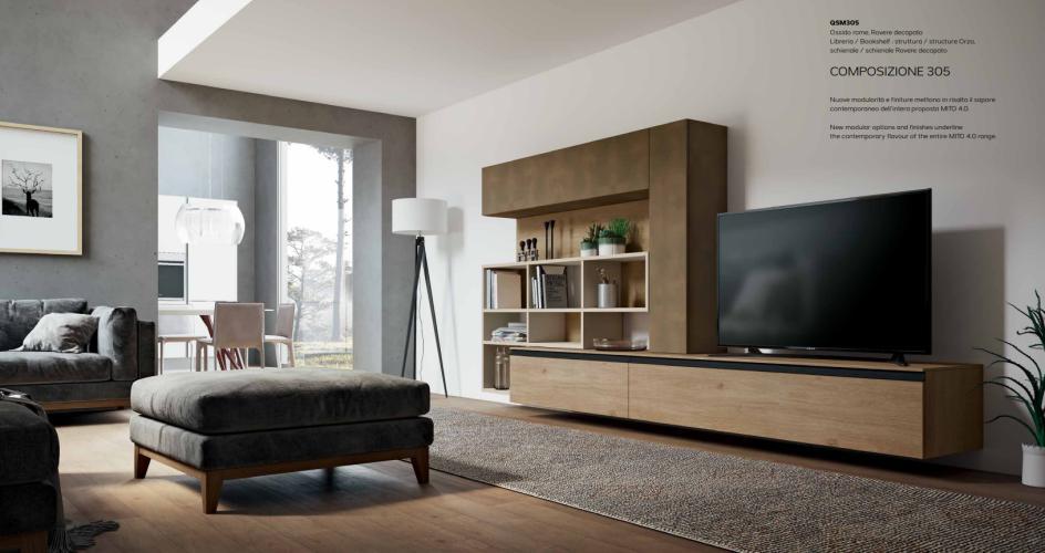 Parete soggiorno moderno porta tv mito 4 0 imab for Pittura soggiorno moderno