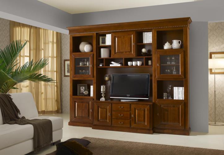 Parete soggiorno in legno massello 1450 tutto mobili - Mobili soggiorno legno massello ...