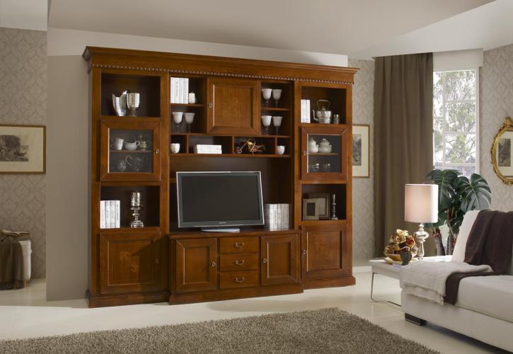 Parete soggiorno con intarsi tutto mobili arredamento camere cucine ufficio roma - Parete soggiorno classica ...