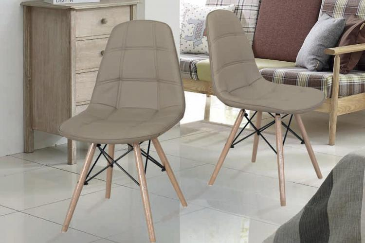 Sedia moderna in legno faggio e seduta in ecopelle design dora