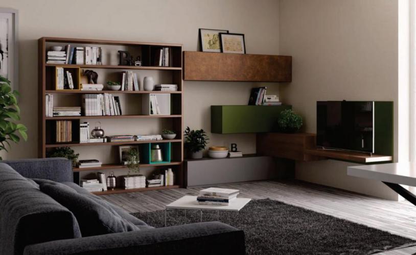 Great soggiorno living moderno giessegi comp tutto mobili for Quattro stelle arredamenti